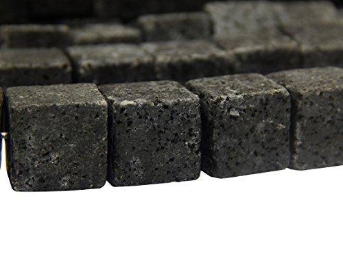 Lava Perlen 10mm Würfel 37 Stk Edelstein Naturstein * A GRADE * Gemstone Beads SCHWARZ Lavaperlen Halbedelstein Edelsteine Strang Schmuckperlen Schmuckstein für DIY Kette Basteln L33