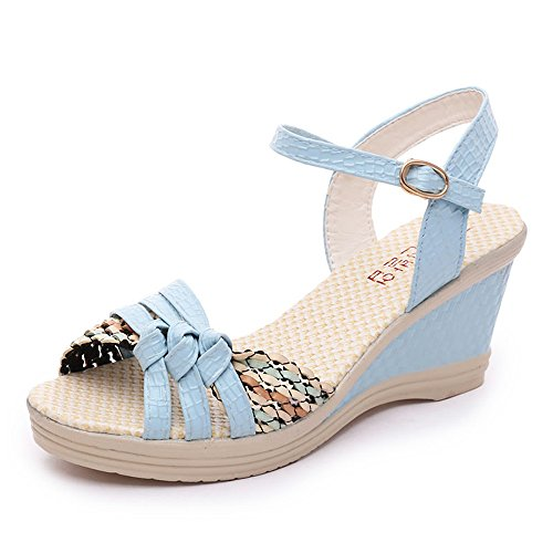 Damen Sandalen Ronamick Frauen Damen Keile Schuhe Sommer Sandalen Plateau Toe High Heels (36, Blau) (Flats, High Heel)