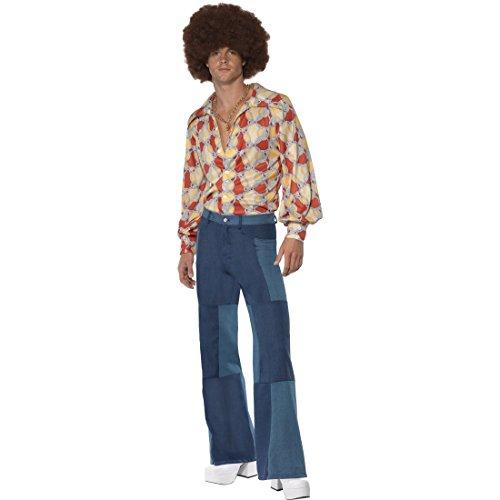 Herren Vintage Hippie Hemd (70er Jahre Hippiekostüm 60er Jahre Herrenkostüm Vintage L 52/54 Flower Power Outfit Hemd und Hose Hippie Kostüm Karneval Kostüme Herren Retro Party Faschingskostüm Blumenkind Mottoparty Verkleidung)