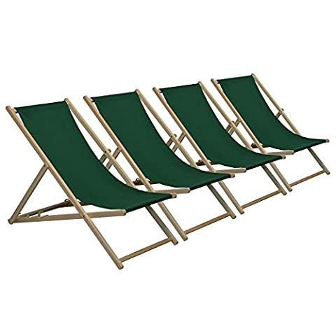 Traditional Adjustable Garden / Beach-style Deck Chair - Green - Pack of 4