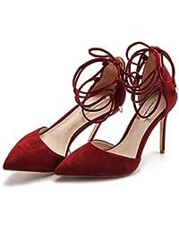 SANDALIAS Verano Señaló Tacón Alto Zapatos Elegantes Zapatos De Tacón De  Aguja De Encaje Rojo Vino 0e10b5b3f654