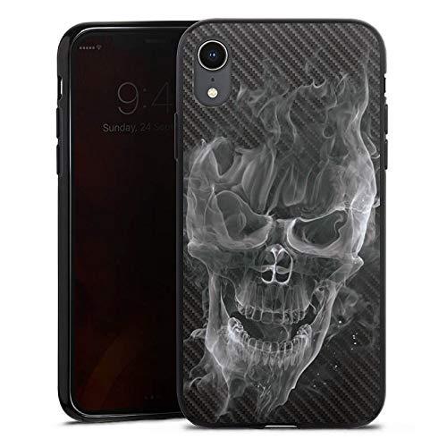 DeinDesign Silikon Hülle kompatibel mit Apple iPhone Xr Case Schutzhülle Totenkopf Skull Carbon