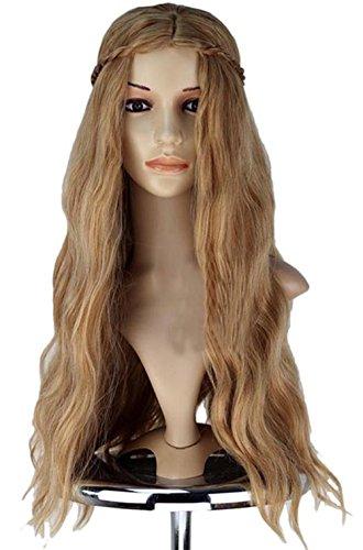 Halloween Kostüm Cersei Lannister Dame Mädchen Perücke Wig Hellbraun langes lockiges Wavy Haar Zubehör (Cersei Game Of Thrones Kostüme)