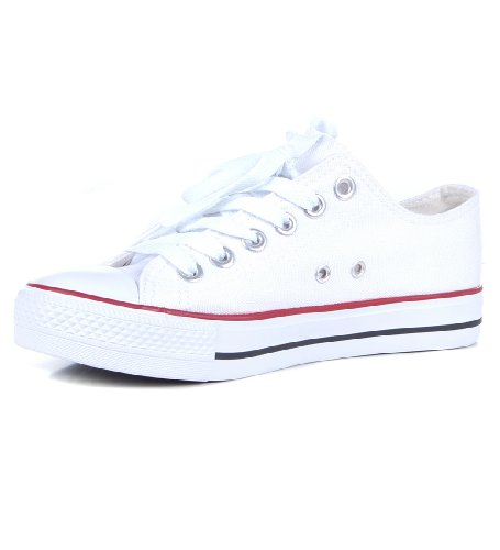 Women's low Top Canvas Plimsole Lace Up Rubber Toe Trainers White 6
