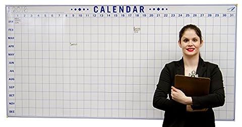 Nouveau. quotidien Calendrier complet AN–Calendrier effaçable à sec cas–enroulable Tableau blanc 182,9x 91,4cm