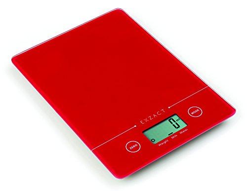 EXZACT EX9150 Super Schmal (1.4 CM) Elektronische Küchenwaag/Digitale Waage - Hartglasplattform - Berührungsknopf - Batterie Inklusive - 5kg/11lb (Rot)