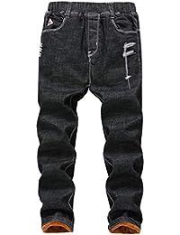 Lau's Vaqueros para niños Cintura Elastica - Pantalones Jeans Rotos niño con Forro Termico