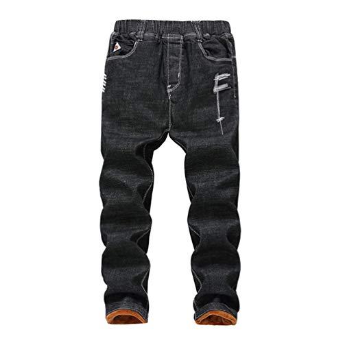 Lau's pantaloni jeans strappati ragazzo pantaloni bambino invernali nero (con pelo) 11-12 anni