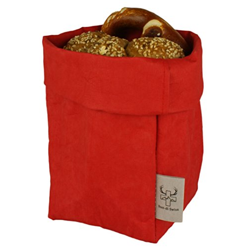 bun-di Swiss® - KREMPELBOX M | Kleiner Brotkorb, Utensilo, Aufbewahrungskorb, Deko-Übertopf, Geschenkbox | Waschbares Papyr mit Lederoptik (Veganes Leder) | ca.12,5cm Ø (RED Apple) Red Apple Design