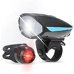 Tomshine Linterna de Bicicleta Delantera con Altoparlante y Luz de Cola Ciclismo Antorcha USB Recargable Impermeable Super Brillante (Bicycle Flashlight)