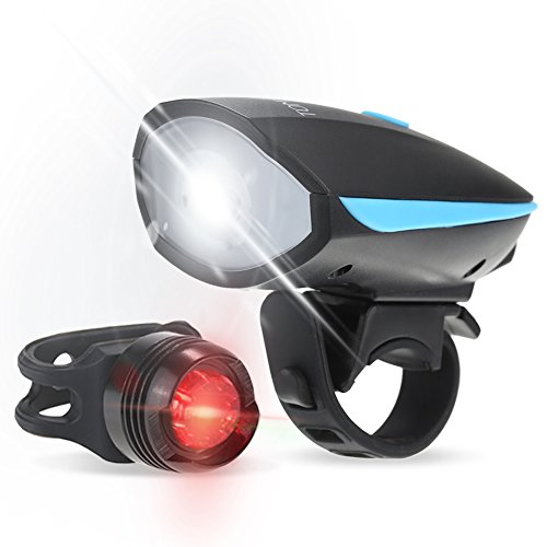 Tomshine Bicycle LED USB Light, Super Bright LED Bike Front Light and Tail Light, 250LM 120dB Waterproof Rechargeable USB Speaker Cycling Lights