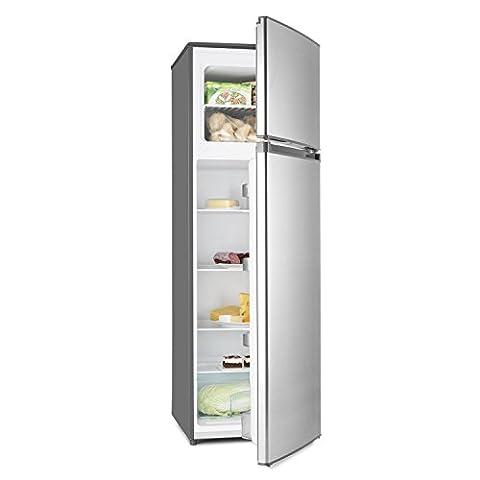 Klarstein Height Cool • Kühl- und Gefrierkombination • 199 Liter Kühlschrank • 53 Liter Gefrierfach • 4 große Ablagen • Gemüsefach • 4 Türablagen • 7-stufige Temperatureinstellung • wechselbarer Türanschlag • Edelstahl-Optik • silber