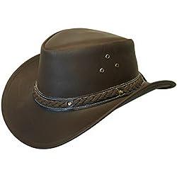 Unisex Marrón Safari de Cuero Arbusto Australiano Cowboy Style Clásico Occidental Outback Sombrero S