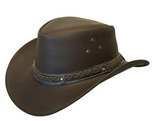 Unisex Braun Leder Busch Safari Aussie Cowboyhute Stil Klassische Western Outback Hut M
