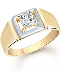 VK Jewels Gold and Rhodium Plated (CZ) Solitaire Ring - FR1097G [VKFR1097G]