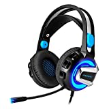 PHOINKAS Headset PC Gaming Kopfhörer 3,5 mm Wired Over-Ear-Stereo-Mic LED-Licht Lärm Cancel & Lautstärkeregler für Xbox One / PC / Mac / PS4 / Tisch / Laptop / Telefon / iPad (Metall Aluminium Shell, Black & Blue)