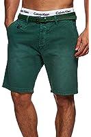 MAKI Herren 5-Pocket Chino Shorts mit Gürtel Vintage Kurze Hose Washed Bermuda Sommerhose M L XL XXL