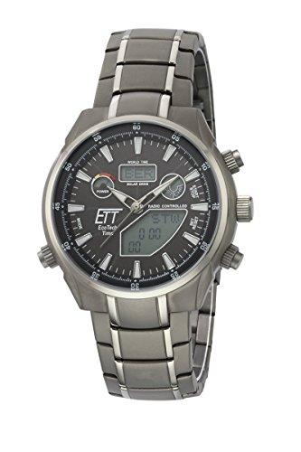 ETT Eco Tech Time Funk Solar Weltzeit Herren Uhr Chronograph mit Titan Armband EGT-11339-60M
