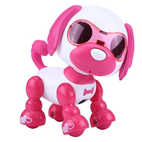 Dilwe Elektronische Roboter Hund Haustier Spielzeug Smart Kids Interactive Walking Sound Welpen mit LED-Licht Pädagogisches Spielzeug Geschenk für Kinder( Rosenrot)