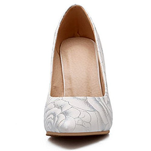 Azbro Women's Pointed Toe High Heels Floral Slip on Pumps Apricot