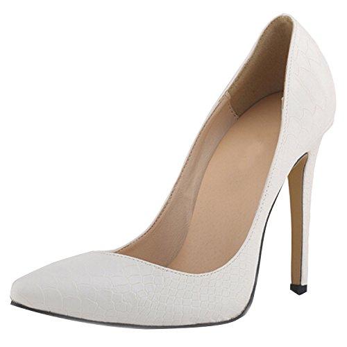 Oasap Femme Chaussure A Talons Hauts Serpent Pointu Talons Aiguilles Blanc