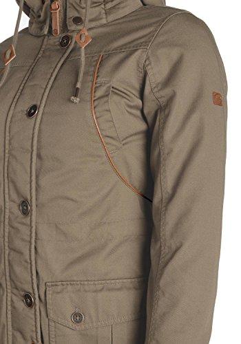 DESIRES Annabelle Damen Übergangsparka Parka Übergangsjacke Lange Jacke mit Kapuze, Größe:XS, Farbe:Shitake Br (5323) - 5
