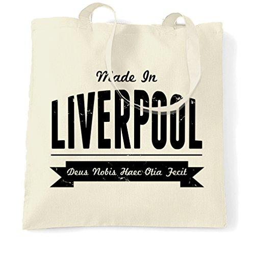 Made in Liverpool World Museum Anfield Calcio Distressed Sacchetto Di Tote Natural