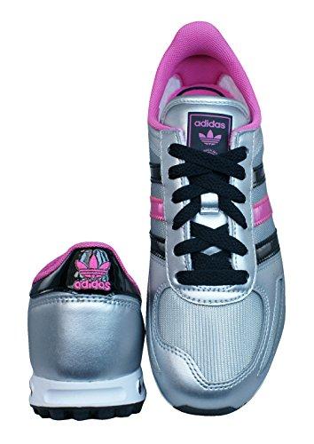 Adidas Original LA Trainer K Mädchen Sneaker Schuhe Freizeit silber/pink Q33594 Silber