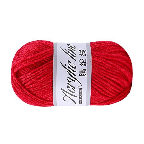FeiliandaJJ 50g Wolle Zum Stricken & Häkeln,Acrylwolle Baumwolle Einfarbig Hand Strickgarn Strickwolle für Hüte Pullover Schal Decke Strickprojekt - 14 Farben (M)