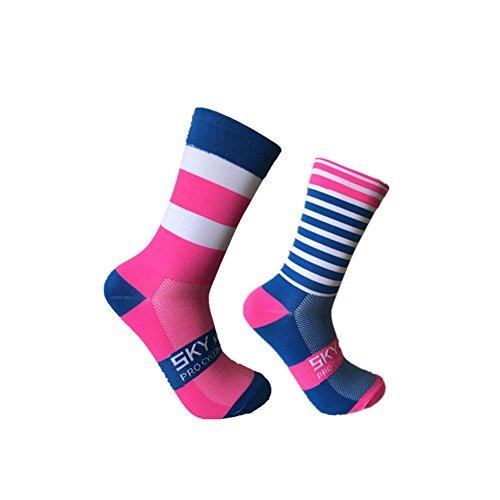 Calcetines deportivos de alta calidad, chinlon, con rayas, para actividades al aire libre, ciclismo, pie izquierdo y derecho, unisex