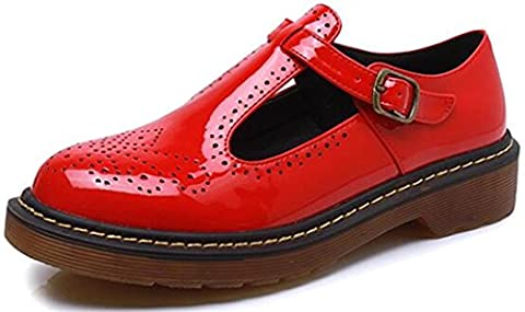 DADAWEN Women's Ladies Big Size Mary Janes Flats Low Heel Brogues Shoes-Red 7 UK size
