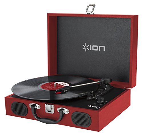 ION Audio Vinyl Transport | Portable Briefcase Style Turntable with Built-In Stereo Speakers - Red