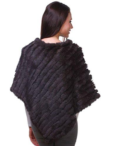 Ferand Echter Kaninchen Pelzponcho Wärmender Pelzumhang für Frauen Braun