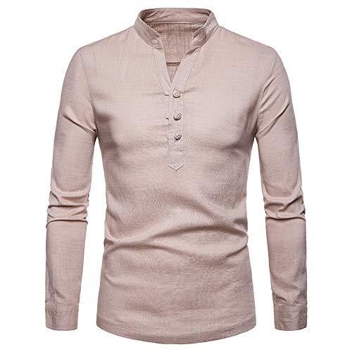 Geili Herren Slim Fit Hemd Longsleeve Langarm T-Shirt Knopfleiste Leinenhemd Strand Hemden Herbst Winter Einfarbige Große Größen Freizeithemd Shirts