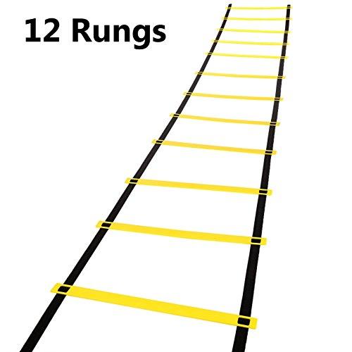 ZEARO 12 Sprosse 5 M Agility Ladder Koordinationsleiter für Geschwindigkeit Fußball Fitness Fuß Training mit Tragetasche