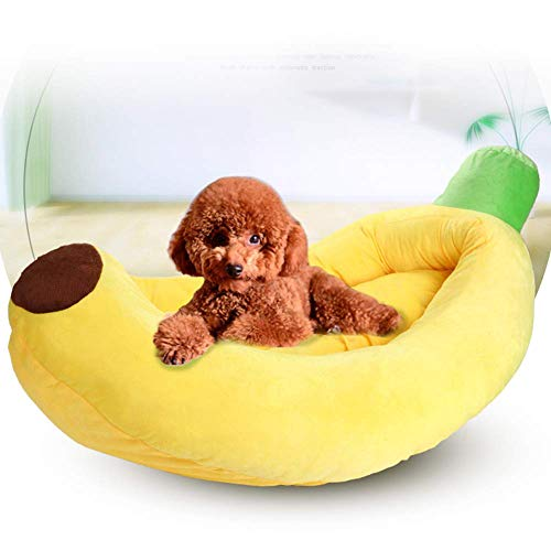 AMhuui Hundekissen Hundekorb, Katzenbett abnehmbare Haustierbett Banane für kleine mittelgroße Hunde warm weiche lustige Hunde Schlafsofa,Yellow,L -