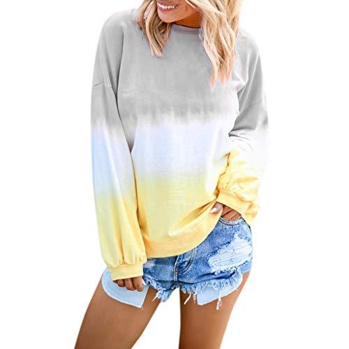 Ears Frauen Casual Sweatshirt Oansatz Pullover Farbverlauf Kontrast Top Langarm Outwear Baumwollpullover Freizeit Pullover Vintage Strickjacke Lässige Langarm Baumwolle Sweater -