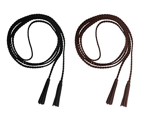 en Dekorative Gestrickte Lederbauchkette Geflochtene Gürtel mit Troddel (schwarz kaffee) ()