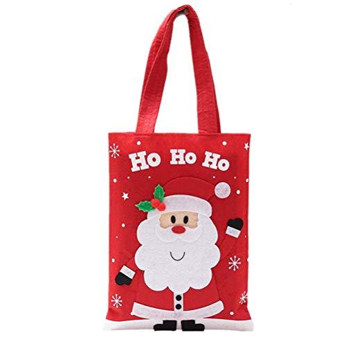 Lanta home borse tote bags portatili simpatici cartoni animati per bomboniere al cioccolato caramelle (modello rosso, babbo natale)