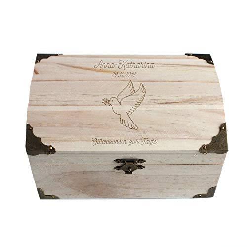 Geschenke.de Personalisierbare Schatztruhe mit Gravur Taube, Taufgeschenk für Mädchen und Junge, Spardose und Geschenkbox als Geldgeschenk Verpackung groß