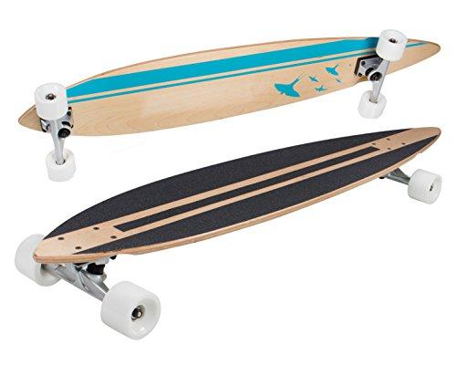 SportPlus Longboard, ABEC-7 Chrom-Kugellager, PUC Rollen für ideale Bodenhaftung, Komplettboards, hochwertige Decks aus stabilen & flexiblen Ahornholz (Canadian Maple), diverse Formen und Designs (Pintail Longboard Deck)