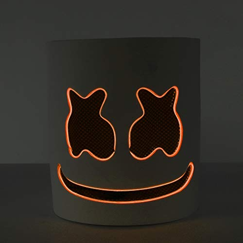 Yalatan Marshmello-Helme DJ-Vollkopf-LED-Maske DIY Cosplay Halloween Party Bar Musik Requisiten Neuheit beleuchtet anonymes Festivalkostüm für Kinder
