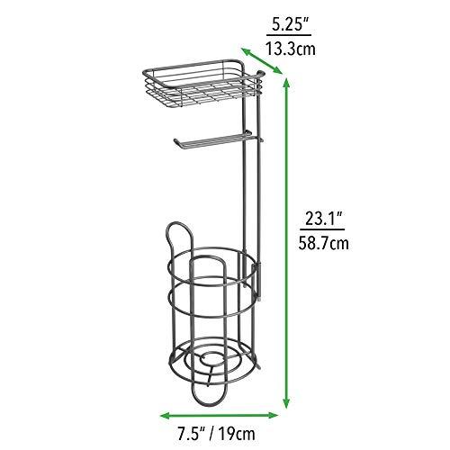 mDesign Toilettenpapierhalter - eleganter Papierrollenhalter aus Metall - WC-Rollen-Halter mit Regal - praktische Aufbewahrung fürs Badezimmer - bronze -
