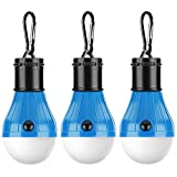 [3 Pack] Tent LED Light, PEMOTech Waterproof Tent LED Light Bulb Portable Battery Operated Emergency Light Lamp Lantern for Outside Camping Outdoor Hiking Fishing Hunting Mountaineering
