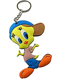 Techpro Soft Rubber Keychain Doublesided With Tweety Bird With Cap Design