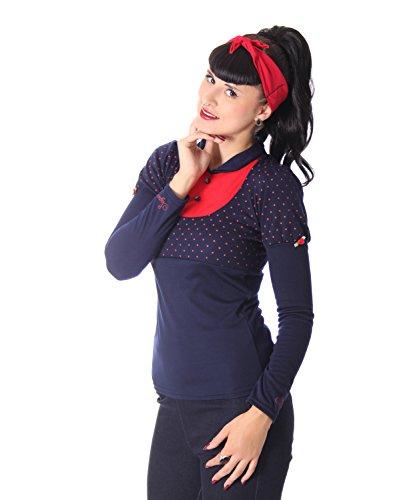 SugarShock Roxi 50er retro Polka Dots Rockabilly Longsleeve langarm Shirt -