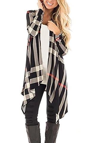 Yieune Damen Blumenmuster Strickjacke Cardigan Langarmshirt Lose Kimono Baumwolle Cover Up Oberteil (Streifen XL)
