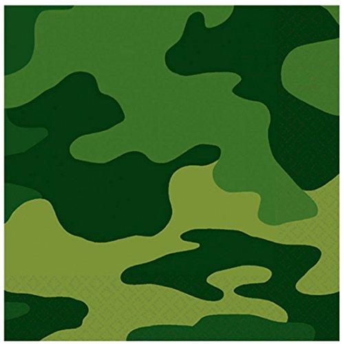 erdbeer-party - Party Dekoration Servietten - Camouflage - 16 Stück, 25 x 25cm, Grün