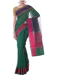 Neelam Sarees Women's Banarasi Handloom Pure Silk Saree with Blouse Piece (Green)