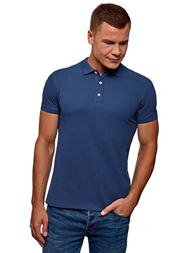 oodji Ultra Herren Pique-Poloshirt, Blau, DE 46-48 / S - Teenager Günstige T-shirts